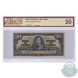 BC-25a 1937 Bank of Canada $20, Osborne-Towers, S/N: A/E0824703. BCS Certified VF-20.