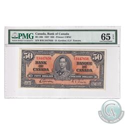 BC-26b 1937 Bank of Canada $50, Gordon-Towers, S/N: B/H3447856. PMG Certified GEM UNC-65 EPQ!