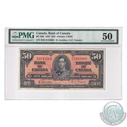 BC-26b 1937 Bank of Canada $50, Gordon-Towers, S/N: B/H2545969. PMG Certified AU-50, Discoloration.