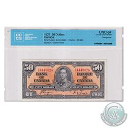 BC-26c 1937 Bank of Canada $50, Coyne-Towers, S/N: B/H4449024. CCCS Certified Choice UNC-64.