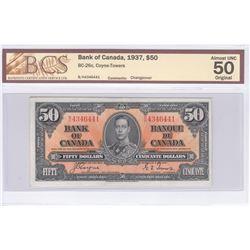 BC-26c 1937 Bank of Canada $50, Coyne-Towers, S/N: B/H4346441. BCS Certified AU-50 Original!
