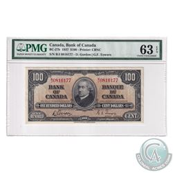 BC-27b 1937 Bank of Canada $100, Gordon-Towers, S/N: B/J0816177. PMG Certified Choice UNC-63 EPQ!