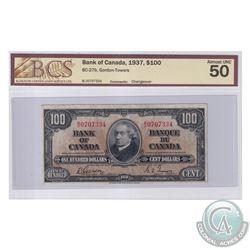 BC-27b 1937 Bank of Canada $100, Gordon-Towers, S/N: B/J0707334. BCS Certified AU-50.