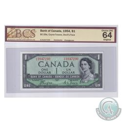 BC-29a 1954 Bank of Canada Devil's Face $1, Coyne-Towers, S/N: H/A1647230. BCS Certified Choice UNC-