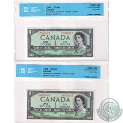 BC-29a & BC-29b 1954 Bank of Canada Devil's Face $1, Coyne-Towers, & Beattie-Coyne Signatures. Both