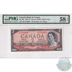 BC-30b 1954 Bank of Canada Devil's Face $2, Beattie-Coyne S/N: F/B7724089, PMG Certified Choice AU-5