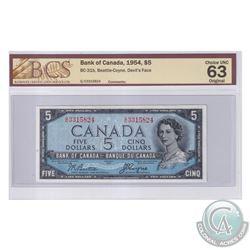 BC-31b 1954 Bank of Canada Devil's Face $5, Beattie-Coyne S/N: G/C3315824. BCS Certified Choice UNC-