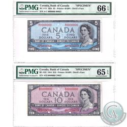 BC-31S & BC-32S. 1954 Bank of Canada Devil's Face SPECIMEN $5 & $10 Matching Set (#B0037 & C0037). B