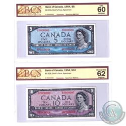 BC-31S & BC-32S. 1954 Bank of Canada Devil's Face SPECIMEN $5 & $10 Matching Set (#B0041 & C0041). B