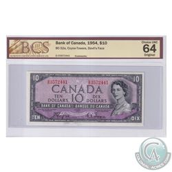 BC-32a 1954 Bank of Canada Devil's Face $10, Coyne-Towers, S/N: D/D3572441. BCS Certified Choice UNC