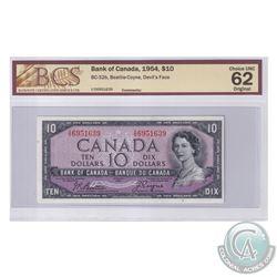 BC-32b 1954 Bank of Canada Devil's Face $10, Beattie-Coyne, S/N: I/D6951639. BCS Certified CUNC-62 O