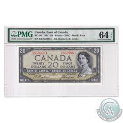 BC-33b 1954 Bank of Canada Devil's Face $20, Beattie-Coyne, S/N: B/E8599981. 'Changeover' PMG Certif