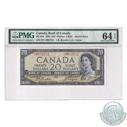 BC-33b 1954 Bank of Canada Devil's Face $20, Beattie-Coyne, S/N: D/E6653751. PMG Certified Choice UN