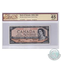 BC-34a 1954 Bank of Canada Devil's Face $50. Coyne-Towers, S/N: A/H1158556. BCS Certified EF-45 Orig