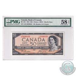 BC-34b 1954 Bank of Canada Devil's Face $50. Beattie-Coyne, S/N: A/H2036838. PMG Certified Choice AU