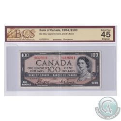 BC-35a 1954 Bank of Canada Devil's Face $100, Coyne-Towers, BCS Certified EF-45 Original.
