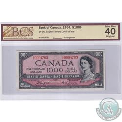 BC-36 1954 Bank of Canada Devil's Face $1000, Coyne-Towers S/N: A/K0004763. BCS Certified EF-40 Orig