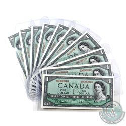 BC-37b-N5 Low Numbered Set of 1954 $1 J/N notes. You will receive every 10th note starting with 0000
