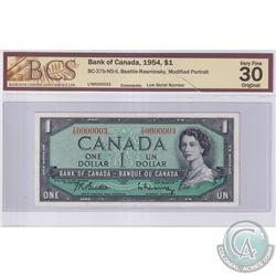 BC-37b-N5-ii 1954 Bank of Canada $1, Beattie-Rasminsky, Low Serial Number I/N0000003, BCS Certified