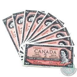 BC-38b 1954 Bank of Canada $2. 10 notes in sequence with one Radar (P/U 7840487) Beattie-Rasminsky,
