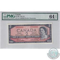 BC-38b-N3 1954 Bank of Canada $2 'Million Numbered Note' Beattie-Rasminsky, S/N A/U8000000 PMG Certi
