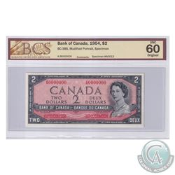 BC-38S 1954 Bank of Canada Modified SPECIMEN $2, #A0013. S/N: A/B0000000. BCS Certified CUNC-60 Orig