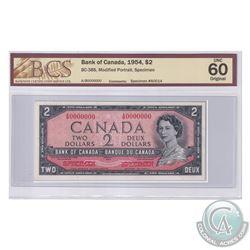 BC-38S. 1954 Bank of Canada Modified SPECIMEN $2, #A0014. S/N: A/B0000000. BCS Certified CUNC-60 Ori