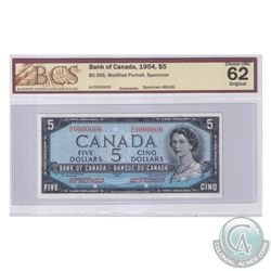 BC-39S. 1954 Bank of Canada Modified SPECIMEN $5, S/N: A/C0000000. BCS Certified Choice UNC-62 Origi