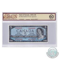 BC-39S. 1954 Bank of Canada Modified SPECIMEN $5, S/N: A/C0000000. BCS Certified Choice UNC-60 Origi