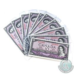 BC-40a, 10 Consecutive 1954 Bank of Canada $10, Beattie-Coyne, S/N: Y/D652005-014. All Notes UNC or