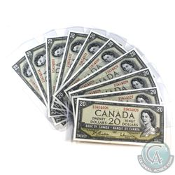 BC-41b, 10 consective 1954 Bank of Canada $20, Beattie-Rasminsky, S/N: R/E5854926-935. All notes UNC