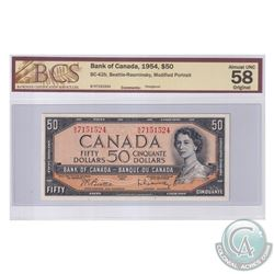 BC-42b 1954 Bank of Canada Modified $50, Beattie-Rasminsky, S/N: B/H7151524. BCS Certified AU-58 Ori