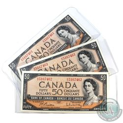 BC-42b, 3 Consecutive 1954 Bank of Canada Modified $50, Beattie-Rasminsky, S/N: B/H5167461/462/463.