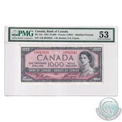 BC-44a 1954 1954 Bank of Canada Modified $1000, Beattie-Coyne, S/N: A/K0042943. PMG Certified AU-53
