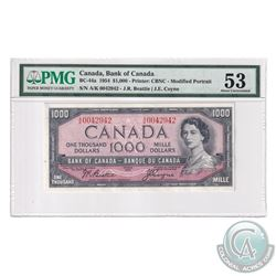 BC-44a 1954 1954 Bank of Canada Modified $1000, Beattie-Coyne, S/N: A/K0042942. PMG Certified AU-53