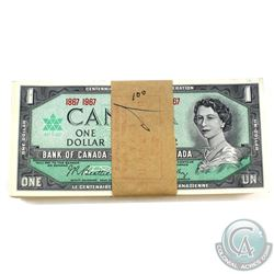 BC-45a, 1867-1967 Bank of Canada $1, Bank Bundle of 100 notes with original CIBC stamp dated April,