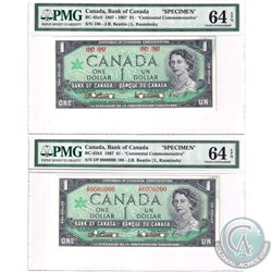 BC-45aS & BC-45Bs. A Matching Set of 2x $1 1967 Speciment Bank notes (#186). Set includes the BC-45a