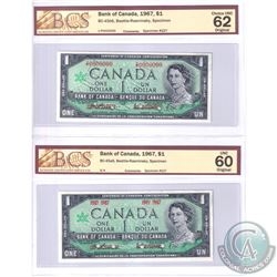 BC-45aS & BC-45Bs. Set of 2 Matching 1967 SPECIMEN Notes (Set#227). Both Notes BCS Certified, BC-45a