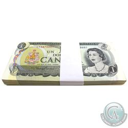 BC-46a 100 consecutive 1973 Bank of Canada $1 Bills, Lawson-Bouey, S/N: LT3875001-3875100. Most Note