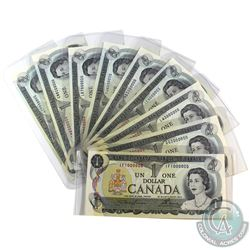 Rare Set! BC-46a 1973 Bank of Canada $1 Notes with Million Numbered Serial Numbers - IF1000000, GG20