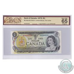 BC-46a-N1-ii-N10-I 1973 Bank of Canada $1, 2 Digit Radar, 2 Cycle Repeater. Lawson-Bouey, S/N: NA838