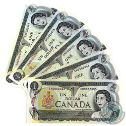 BC-46a-N5-iv 1973 Bank of Canada $1 Lawson-Bouey Low Serial Number Consecutive GM0000445-49 UNC+. 5p
