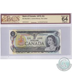 BC-46a-N5-iv 1973 Bank of Canada $1, Lawson-Bouey, Low Serial Number GM0000443, BCS Certified CUNC-6