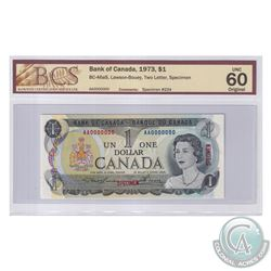 BC-46aS 1973 Bank of Canada Specimen $1, # 234, Lawson-Bouey, S/N: AA0000000. BCS Certified UNC-60 O