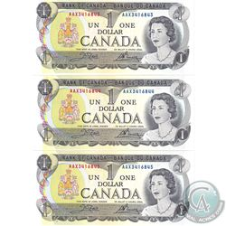 BC-46bA 3 sequential 1973 Bank of Canada Replacement $1, Crow-Bouey S/N: AAX3416843/44/45. CUNC