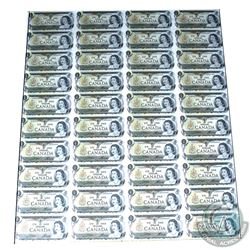 1973 $1 Uncut Sheet of 40 Notes, 4x10 format, Prefix ECW. Scarcer Prefix that was issued in sheets.