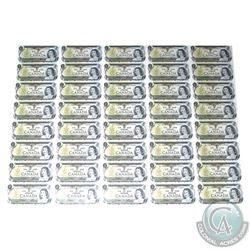 1973 $1 Uncut Sheet of 40 Notes, 5x8 format, Prefix BFL. AU+
