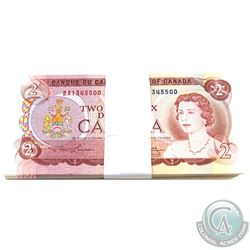 BC-47a 100 Consecutive 1974 Bank of Canada $2 Bills, Lawson-Bouey, S/N: BA1345500-1345599. A Nice Cl