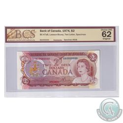 BC-47aS 1974 Bank of Canada Specimen $2, #508, Lawson-Bouey, S/N: BA0000000. BCS Certified Choice UN