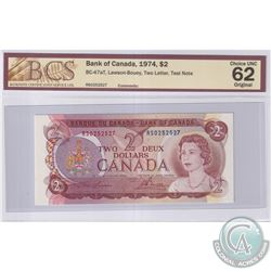 "BC-47aT 1974 Bank of Canada $2 ""RS"" Test Note, Lawson-Bouey S/N: RS0252527, BCS Certified Choice UNC"